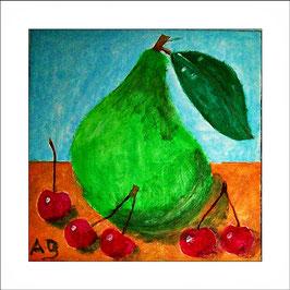 2016-03#07_Stilleben mit Birne und roten Kirschen-moderne Ölmalerei