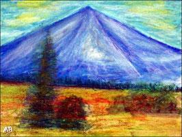 2018#16_Berglandschaft, Ölpastellgemälde, Berg, Bäume, Wald, Tannen, Fichten, Wiese, Büsche, Blumen, Ölpastellmalerei, Landschaftsbild