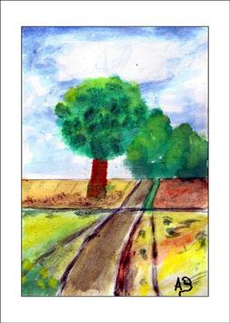 2016-06#02_Landschaft-Felder und Bäume am Weg-Aquarellmalerei