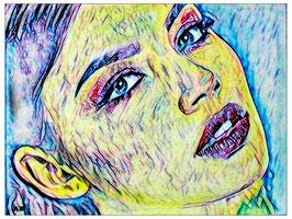 2018#37_Frauenportrait, Pastellbild, Portrait, Abstrakt, Figurativ, moderne Malerei, Feminal, Woman, Pastellmalerei, Pastellgemälde
