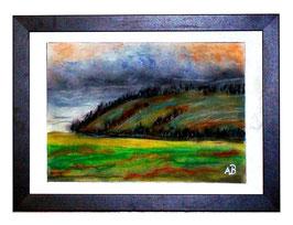2017#51_Hügellandschaft-Pastellgemälde-Graslandschaft-Wiese-Berge-Bäume-Hügel-Himmel-Wolken-Landschaftsbild-Pastellmalerei-Pastellbild