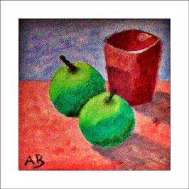 2016-03#06_Stilleben mit gelb-grünen Äpfeln und braunem Becher-moderne Ölmalerei