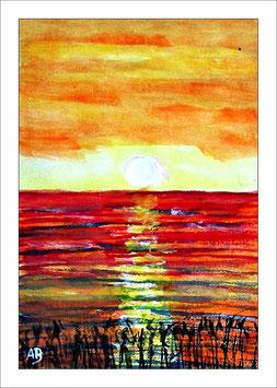 2017#22_Landschaft-Aquarellmalerei-Meer-Sonnenuntergang-Küste-See-Moderne Malerei-Aquarellbild-Aquarell-Kunst-Gemälde-Malerei