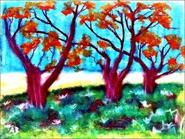2018#01_Bäume am Feld, Pastellmalerei, bäume, Feld, Wiese, Blümen, Gras,Landschaftsbild, Pastellgemälde, Landschaft, Pastellbild