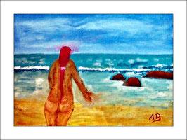 2016-04#06_Strandlandschaft mit nackter Frau-Wellen-Meer-Felsen-Ölmalerei