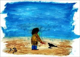 2016-04#21_Figurale Ölmalerei-Kleiner Junge mit Vogel-Moderne Malerei