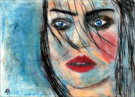 2018#30_Frauenportrait, Pastellgemälde, Figurativ, Frau, Woman, Girl, Feminin, Pastellbild, Noderne Malerei, Pastellmalerei