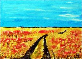 2018#25_Sommerfeld, Ölgemälde, Bäume, Weizen, Landschaftsbild, Feld, Weg, Sommer, Natur, Ölmalerei, Ölbild, Landschaft
