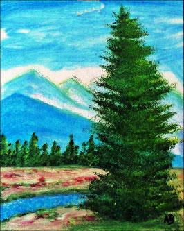 2017#28_Berglandschaft-Ölmalerei-Landschaft-Berge-Wald-Bäume-Bach-Baum-Kiefer-Wiese-Ölbild-Landschaftsgemälde