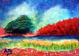 2016-08#08_Flusslandschaft--Landschaft-Wald-Wiese-Bäume-Blumen-Wolken-Impressionismus-Ölmalerei