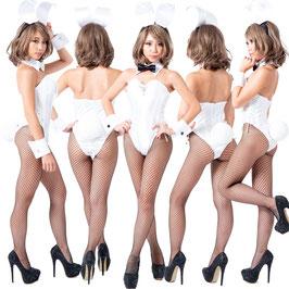 バニーガール 衣装 9点セット【ホワイト】飾り付タイプ