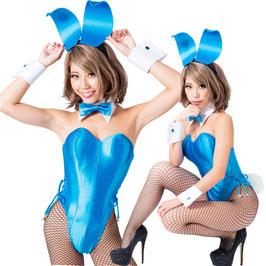 バニーガール 衣装 9点セット【ブルー】プレーンタイプ