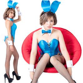 バニーガール 衣装 9点セット【ブルー】飾り付タイプ