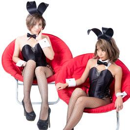 バニーガール 衣装 9点セット【ブラック】飾り付タイプ