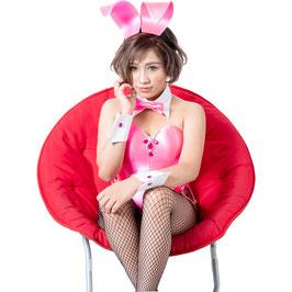 バニーガール 衣装 9点セット【ピンク】飾り付タイプ