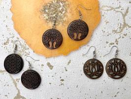 Holzschmuck Ohrringe - Lebensbaum - Lotus - Lebensblume