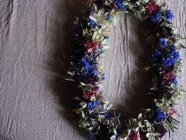 紫陽花プリザーブドフラワーのオーバルリースcl