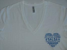"T-shirt ""F"" blanc col V brodé ""Coeur de danses"""