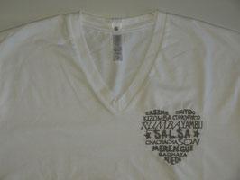"""T-shirt """"H"""" blanc col V brodé """"Coeur de danses"""""""
