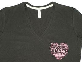 """T-shirt """"F"""" noir col V brodé """"Coeur de danses"""""""
