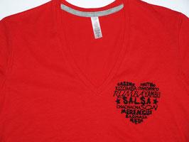 """T-shirt """"F"""" rouge col V brodé """"Coeur de danses"""""""