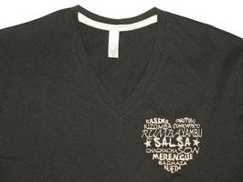 """T-shirt """"H"""" noir col V brodé """"Coeur de danses"""""""