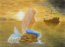 Meerjungfrau mit Schiff, Fantasy, Airbrushbild, Original auf Leinwand