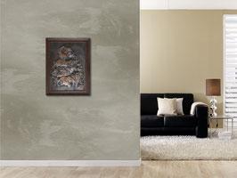 Kupferbild Elefantenherde, handgefertigtes massiver Kupferstich, erstellt in Treibe- Ziseliertechnik, Einzelstück