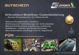 Modellbau -Customlackierung Einzel- oder Gruppenunterricht  Airbrushkurs  Gutscheinn