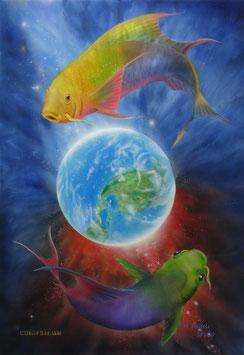 """Fische im Weltall Fantasy Art, """"Airbrush Tiere limitierter Kunstdruck ACYRL-Forex Bild Nr 1/100"""""""