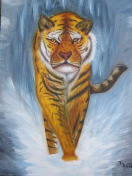Tiger im Schnee,  Airbrushbild, Original auf Leinwand