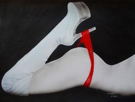 Abverkauf Testdruck, Akt roter Slip limitierter Kunstdruck auf Leinwand