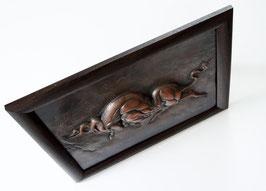 Kupferbild mit Stiermotiv, handgefertigtes, sehr dickes 3 D Kupferstich, erstellt  in kunstvoller Treibe-Ziseliertechnik, Einzelstück