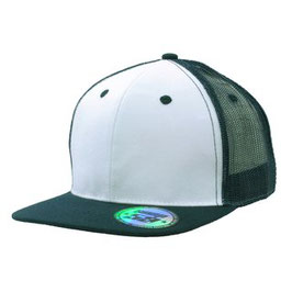 Moderne Flatcap mit Snap back pro sticker weiß und marine blauer Schirm