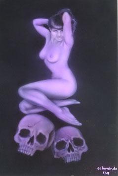 Pinup Skull auf Alu Dibond Airbrush original