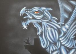 Drache Fantasy, schwarz/weiss, Airbrushbild, Original auf Leinwand