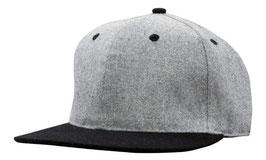 Moderne Flatcap mit Snap back pro sticker grau und schwarzer Schirm