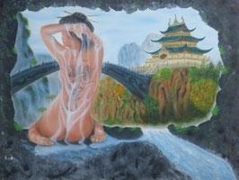 Naked Asian Girl,  Fantasy, Airbrushbild, Original auf 3 D Leinwand