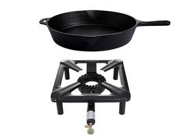 Hockerkocher-Set mit Gusseisenpfanne Ø 30 cm - ohne Zündsicherung