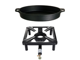 Hockerkocher-Set mit Gusseisenpfanne Ø 40 cm - ohne Zündsicherung