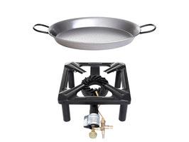 Hockerkocher-Set (groß) mit Paella Pfanne Stahl Ø 32 cm - mit Zündsicherung