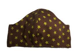 """Mundbedeckung/Behelfsmaske, """"Sterne"""" gelb / braun (Kinder) bei PAT & PATTY"""