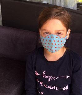 """Mundbedeckung/Behelfsmaske,Waschbare """"Sterne"""" rote / eisblau (Kinder) bei PAT & PATTY"""