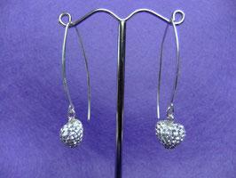 Silber Ohrhänger mit Strassherz, filigran
