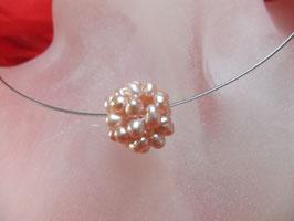 Süßwasserzucht-Perlen-Bällchen-Collier rosa