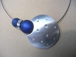 """Stahlseilcollier """"3/4 Mond mit Swarovski-Kristallen"""" / Wechselschmuck"""