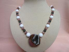 Polychromjaspis-weiße Koralle-Mondstein-Labradorit-Kette