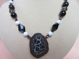 Septarie-Obsidian-Kette