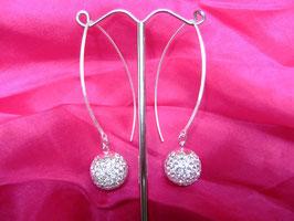 Silber Ohrhänger mit Strassperle, filigran