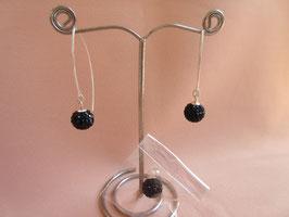Silberohrhänger mit Zirkoniakugel und passenden Anhänger, lang